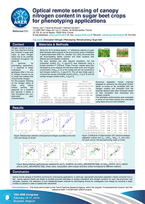 POSTER IIRB 2016 Optical-remote-sensing-of-canopy-nitrogen-content-in-sugar-beet-crops-for-phenotyping-applications
