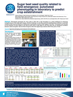 POSTER IIRB 2016 Sugar-beet-seed-quality-related-to-field-emergence-automated-phenotyping-in-laboratory-to-predict-crop-establishment